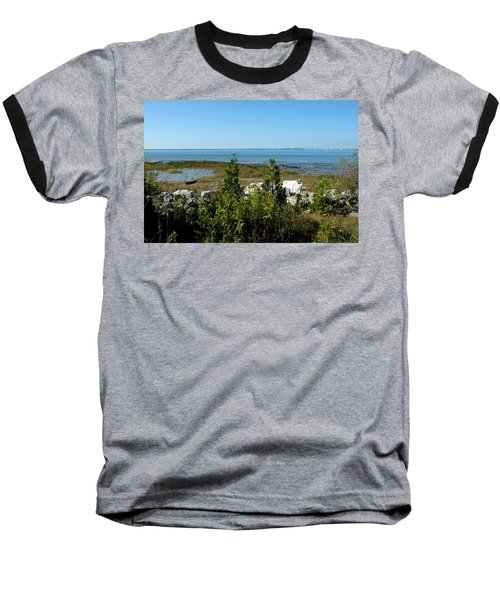 Baseball T-Shirt featuring the photograph Mackinac Island View Of Bridge by LeeAnn McLaneGoetz McLaneGoetzStudioLLCcom