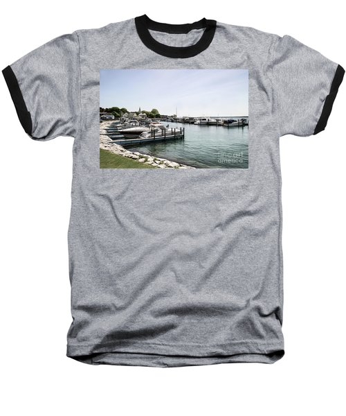 Mackinac Marina Art Baseball T-Shirt