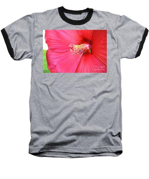 Macro Red Hibiscus Baseball T-Shirt by Marsha Heiken