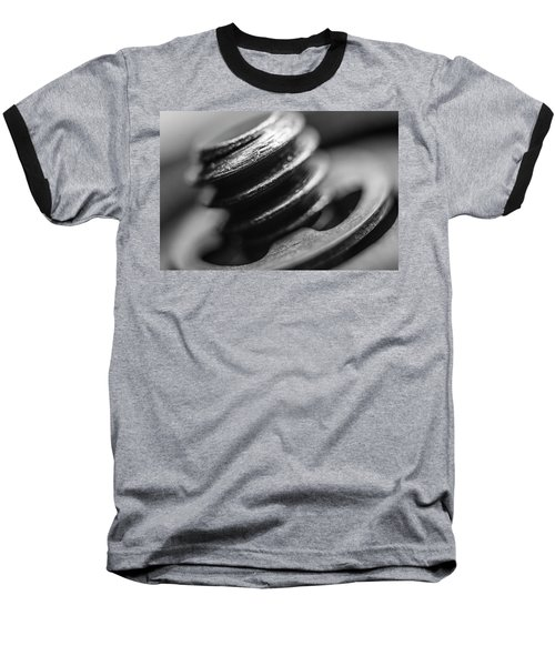 Macro Screw Bolt Black White Baseball T-Shirt by David Haskett