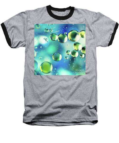 Baseball T-Shirt featuring the photograph Macro Water Droplets Aquamarine Soft Green Citron And Blue by Sharon Mau