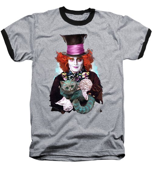 Mad Hatter And Cheshire Cat Baseball T-Shirt by Melanie D