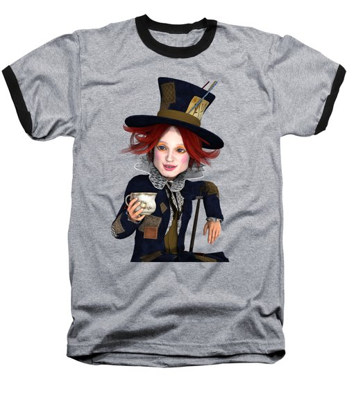 Mad Hatter Portrait Baseball T-Shirt by Methune Hively
