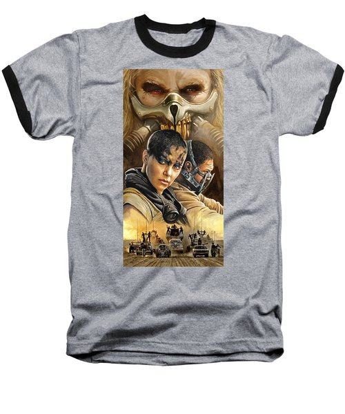 Baseball T-Shirt featuring the painting Mad Max Fury Road Artwork by Sheraz A