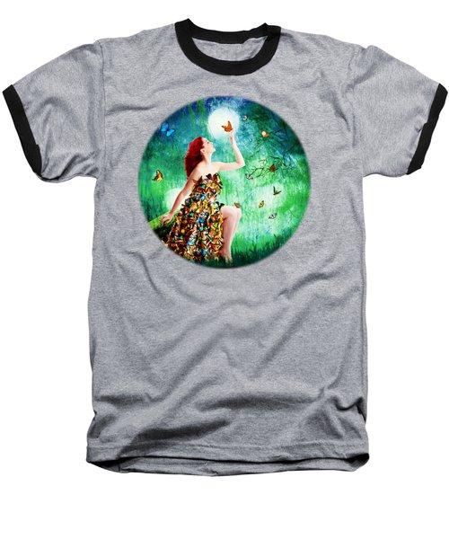 Madam Butterfly Baseball T-Shirt by Linda Lees