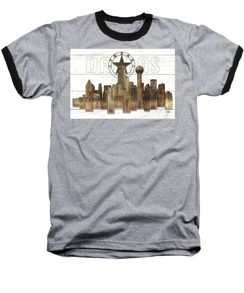 Made-to-order Dallas Texas Skyline Wall Art Baseball T-Shirt