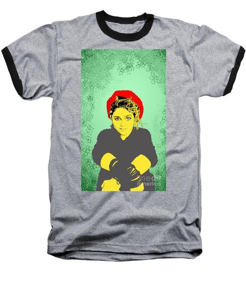 Madonna On Green Baseball T-Shirt by Jason Tricktop Matthews