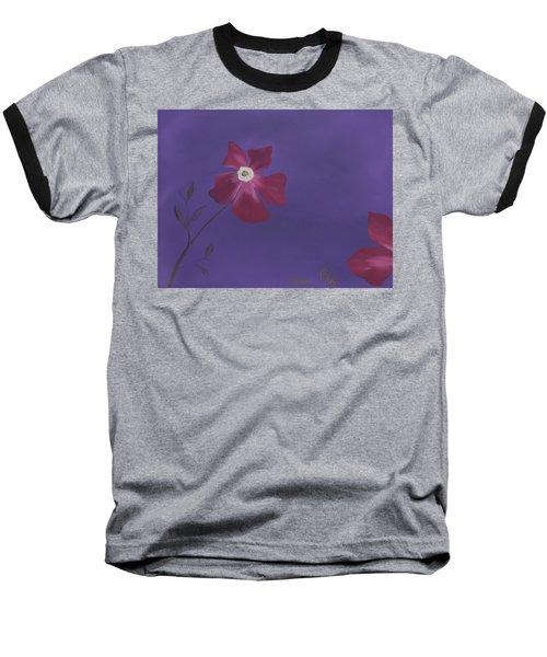 Magenta Flower On Plum Background Baseball T-Shirt