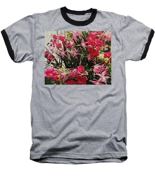 Magenta Orchid Garden Baseball T-Shirt by Marsha Heiken