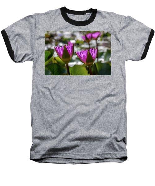 Magenta Water Lilies Baseball T-Shirt