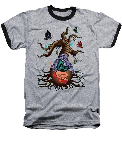Magic Butterfly Tree Baseball T-Shirt by Serena King