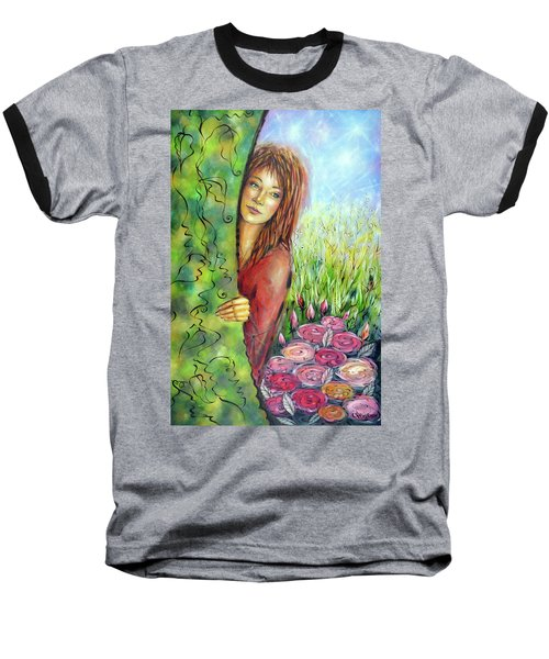 Baseball T-Shirt featuring the painting Magic Garden 021108 by Selena Boron