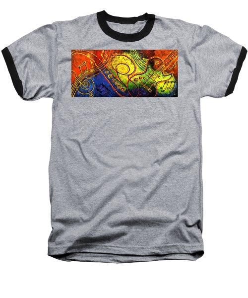 Magic Guitar Baseball T-Shirt by Leon Zernitsky