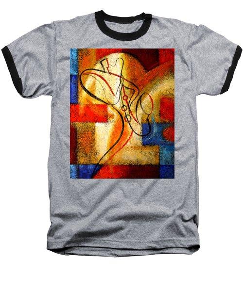 Magic Saxophone Baseball T-Shirt by Leon Zernitsky