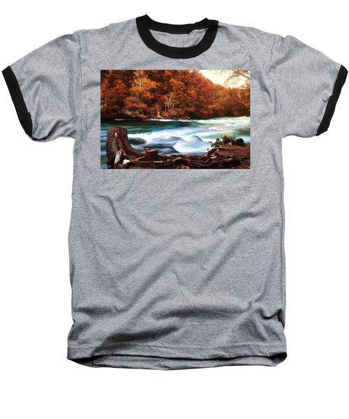 Autumnal Landscape With Lake In The Argentine Patagonia Baseball T-Shirt