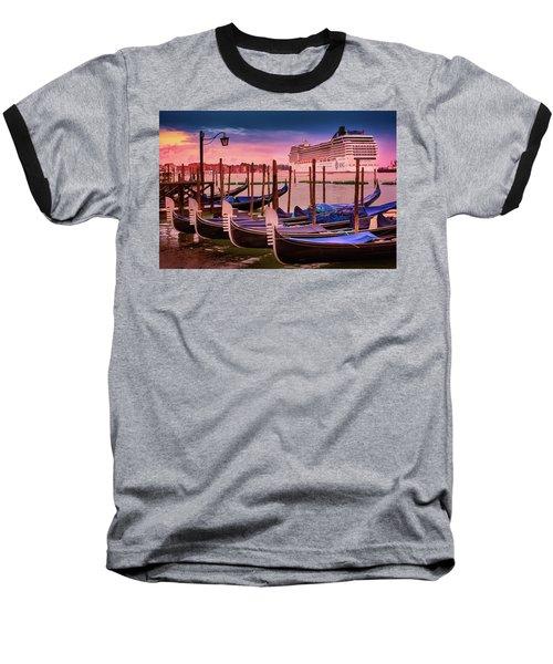 Gondolas And Cityscape At Sunset In Venice, Italy Baseball T-Shirt