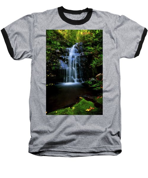 Magical Waterfall Above Spruce Falls In Tremont Smoky Mountains Tennessee  Baseball T-Shirt