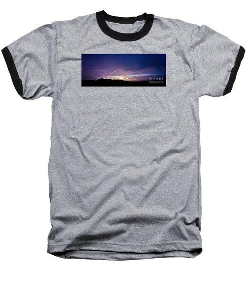Magnificent Sunset Lightning Baseball T-Shirt
