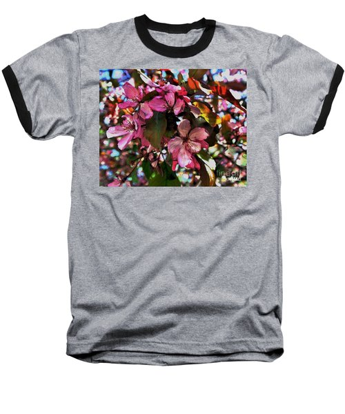 Magnolia Abstract Baseball T-Shirt by Marsha Heiken