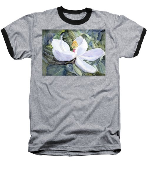 Magnolia Blossom Baseball T-Shirt by Barry Jones