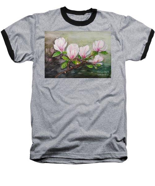 Magnolia Blossom - Painting Baseball T-Shirt