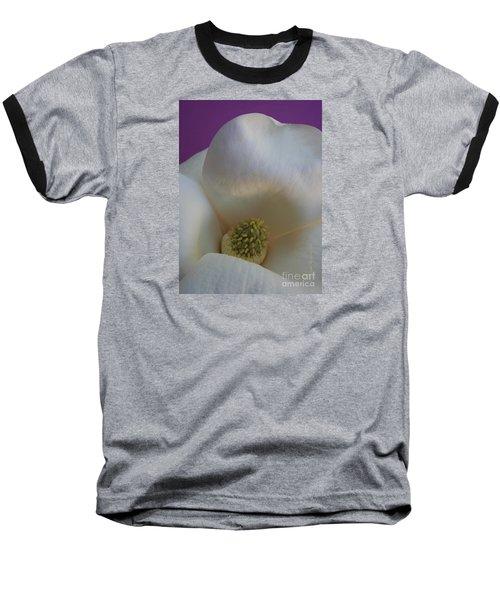 Magnolia Macro Against Purple Baseball T-Shirt