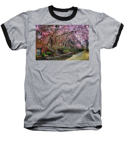 Baseball T-Shirt featuring the photograph Magnolia Trees In Spring - Back Bay Boston by Joann Vitali