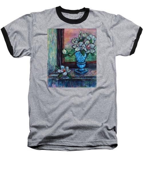 Magnolias In A Blue Vase By The Window Baseball T-Shirt