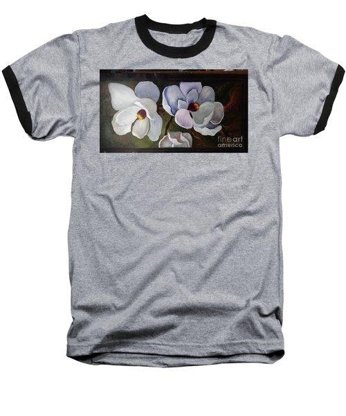 Magnolias White Flower Baseball T-Shirt