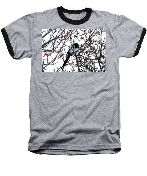Baseball T-Shirt featuring the photograph Magpie In A Snowstorm by Will Borden