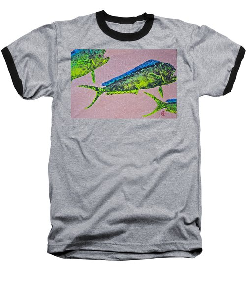 Mahi Mahi On Pink Chiffon Thai Unryu Baseball T-Shirt