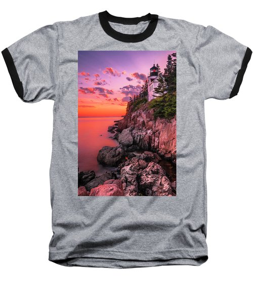Maine Bass Harbor Lighthouse Sunset Baseball T-Shirt
