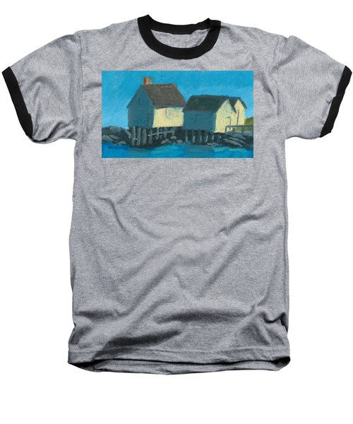 Maine Beach Fishing Shacks Baseball T-Shirt