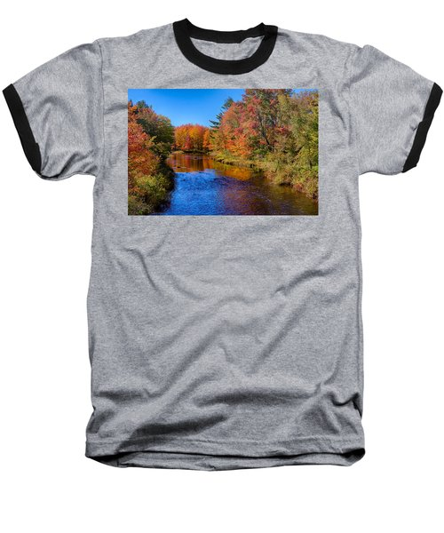 Maine Brook In Afternoon With Fall Color Reflection Baseball T-Shirt