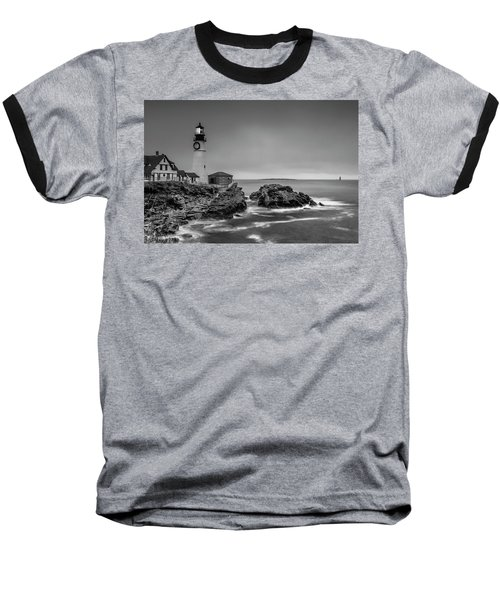 Baseball T-Shirt featuring the photograph Maine Cape Elizabeth Lighthouse Aka Portland Headlight In Bw by Ranjay Mitra