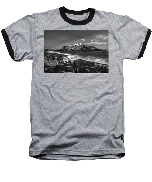 Baseball T-Shirt featuring the photograph Maine Cape Neddick Lighthouse In Bw by Ranjay Mitra