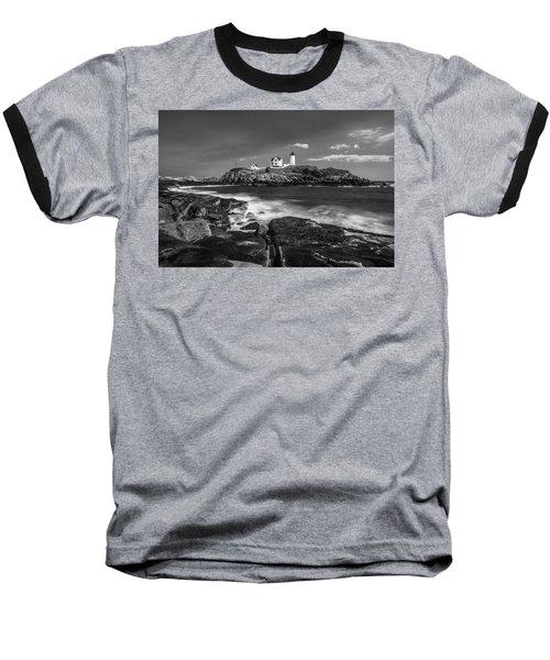 Maine Cape Neddick Lighthouse In Bw Baseball T-Shirt