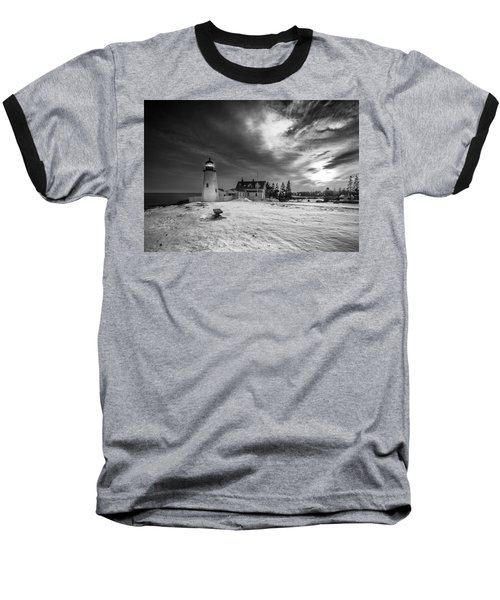 Baseball T-Shirt featuring the photograph Maine Coastal Storm Over Pemaquid Lighthouse by Ranjay Mitra