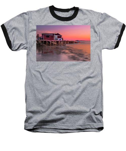 Baseball T-Shirt featuring the photograph Maine Coastal Sunset At Dicks Lobsters - Crabs Shack by Ranjay Mitra
