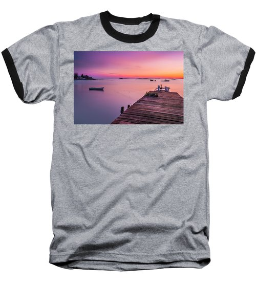 Baseball T-Shirt featuring the photograph Maine Cooks Corner Lobster Shack At Sunset by Ranjay Mitra