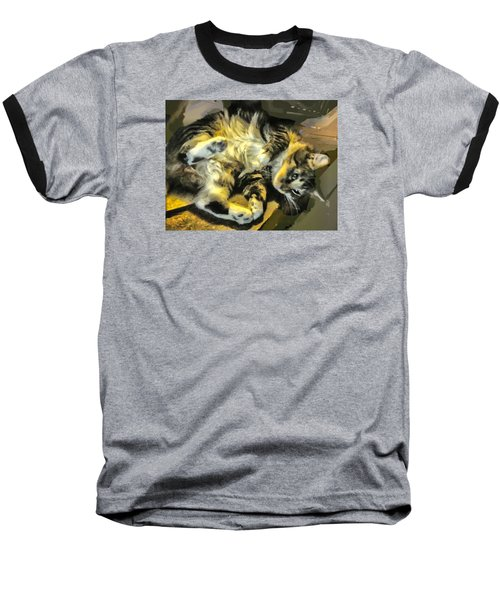 Baseball T-Shirt featuring the photograph Maine Coon Cat At Play by Constantine Gregory