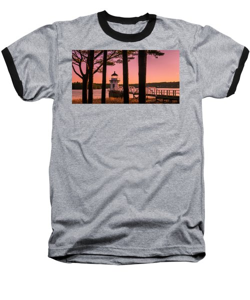 Maine Doubling Point Lighthouse At Sunset Panorama Baseball T-Shirt