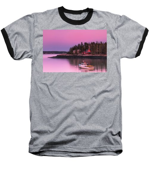 Maine Five Islands Coastal Sunset Baseball T-Shirt