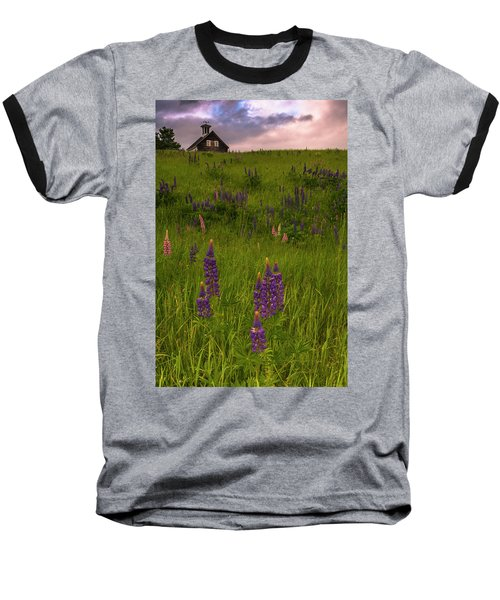 Maine Lupines And Home After Rain And Storm Baseball T-Shirt by Ranjay Mitra