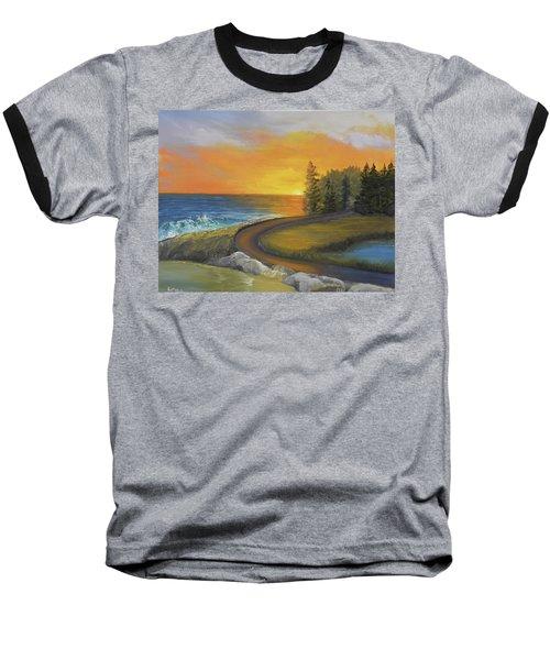 Maine Ocean Sunrise Baseball T-Shirt