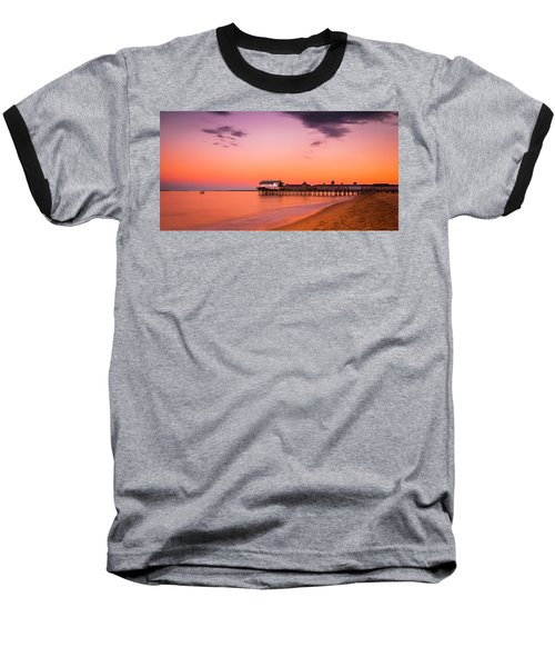 Maine Old Orchard Beach Pier At Sunset Baseball T-Shirt