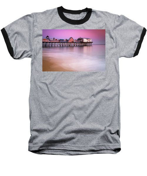Maine Old Orchard Beach Pier Sunset  Baseball T-Shirt