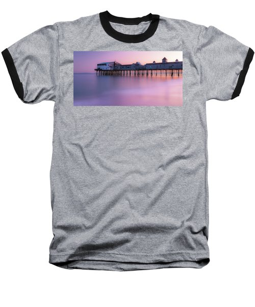 Maine Oob Pier At Sunset Panorama Baseball T-Shirt