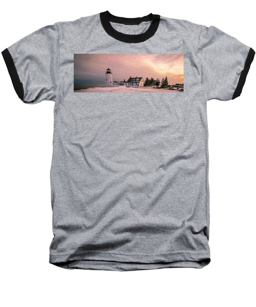 Maine Pemaquid Lighthouse After Winter Snow Storm Baseball T-Shirt