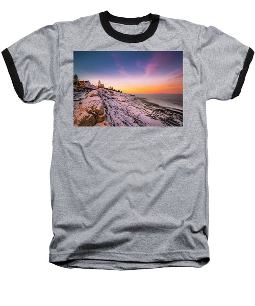 Baseball T-Shirt featuring the photograph Maine Pemaquid Lighthouse In Winter Snow by Ranjay Mitra